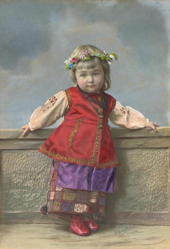Yelena Mrozovskaya Portrait of girl in Ukrainian costume. Saint Petersburg. 1900