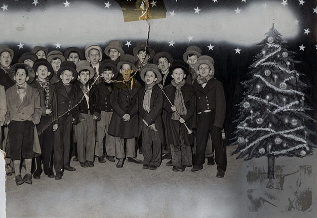 Members of the Gramercy Boys Club gather in their period garb to sing Christmas carols