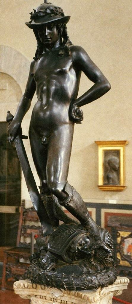 David_by_Donatello between 1430 and 1432, Florence, the Bargello Palace and Museum.