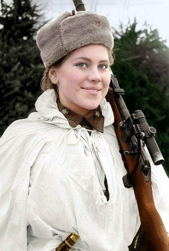 Шанина Роза Егоровна - одиночный снайпер отд. взвода снайперов-девушек 3-го Бел. фронта, кавалер ордена Славы. Уничтожила 75 врагов. Погибла 28 января 1945 от осколочного ранения в живот в Вост. Пруссии. Март 1944.jpg