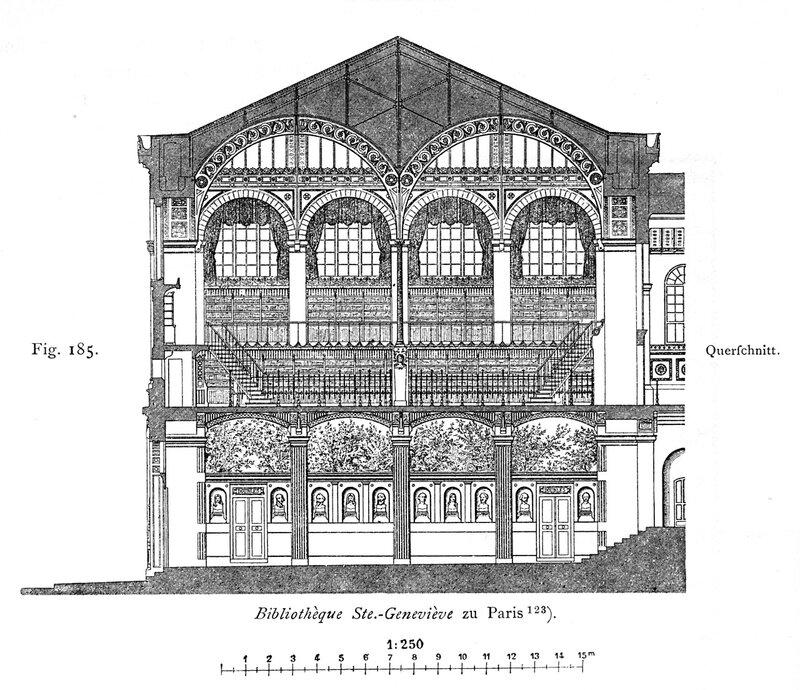 Библиотека святой Женевьевы в Париже, поперечный разрез
