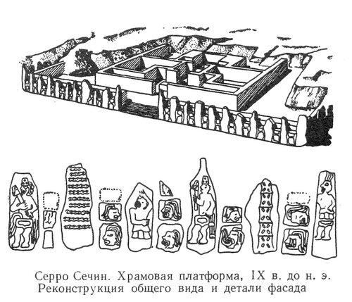 Храм в Серро Сечин, реконструкция общего вида и детали фасада