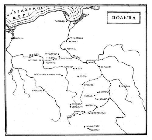 Карта средневековой Польши