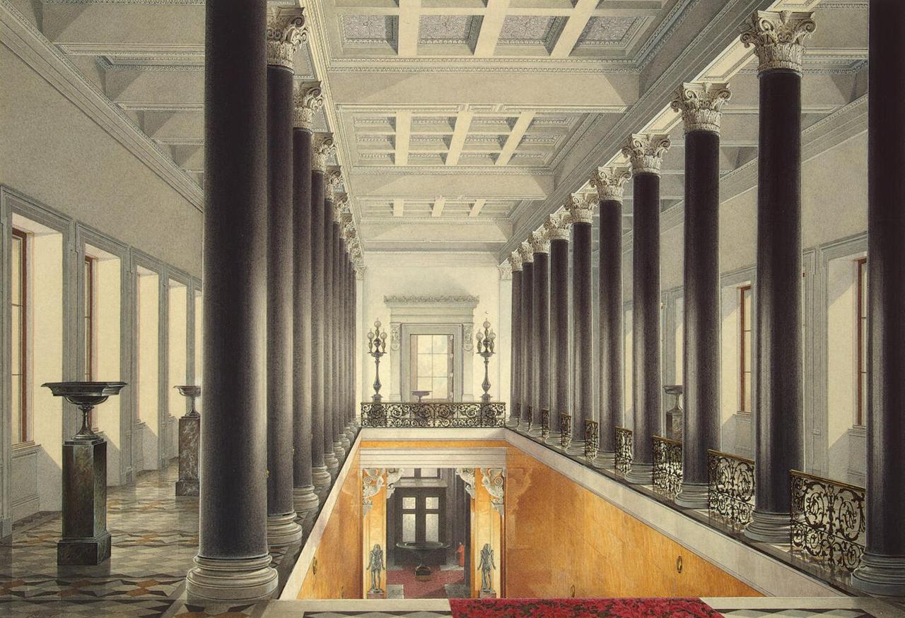 Интерьеры Нового Эрмитажа. Верхняя площадка Парадной лестницы