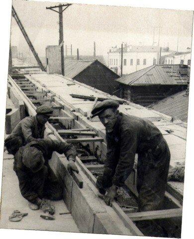 Установка бордюрных камней. Сентябрь 1936г.
