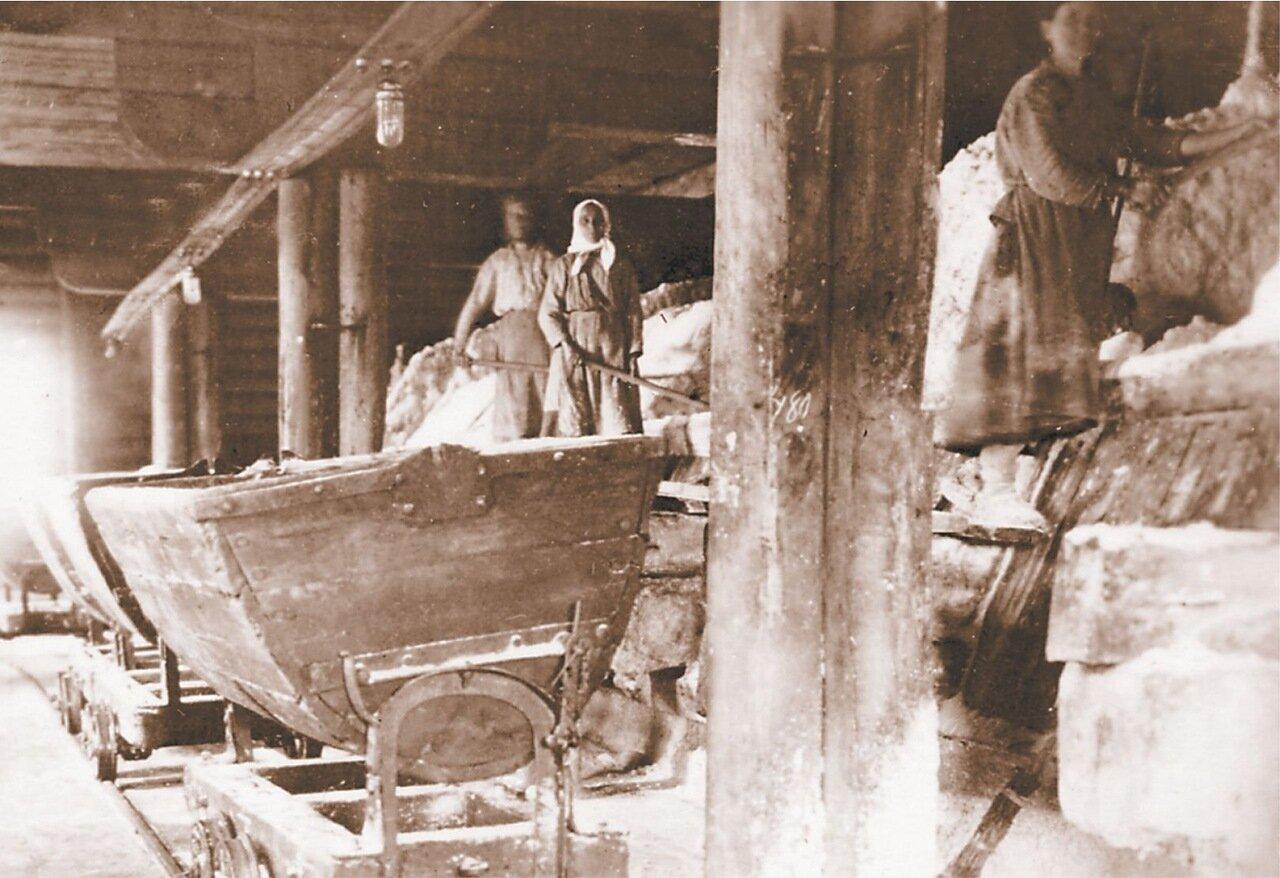 Выгрузка соли с палатей в вагонетки на Усть-Боровском сользаводе