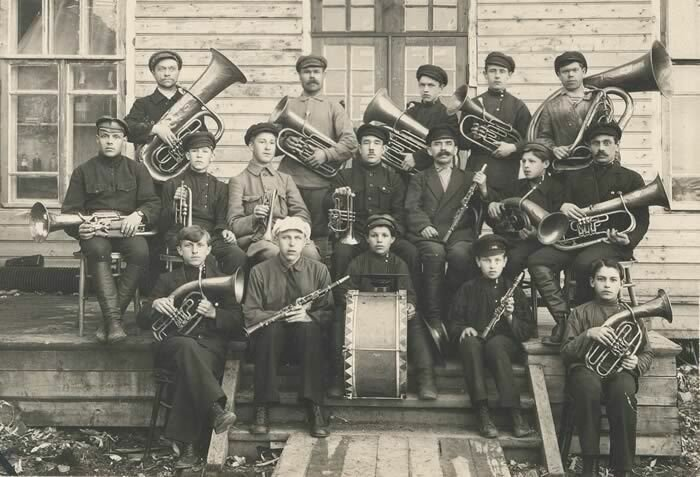 Brass band of M.N. Belyaev from the town of Sokol, Vologda, 1930