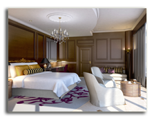 ОАЭ. Дубаи. Le Meridien Mina Seyahi Beach Resort & Marina. Royal Suite - Bedroom - rendering