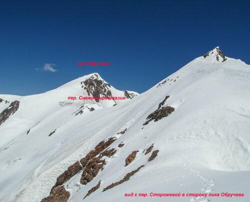 Вид с перевала Сторожевой на перевал Снежная фантазия, пик Обручева