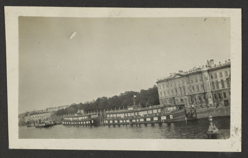 Boats along the side of the Neva River