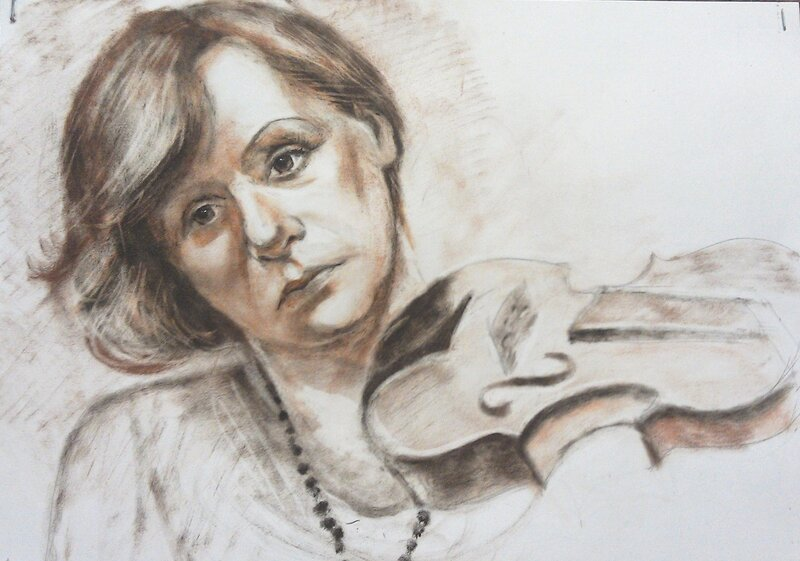 портрет акварельными карандашами: