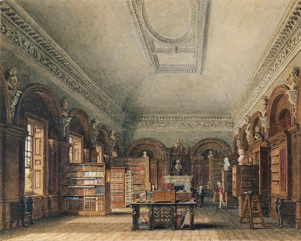 Акварель библиотеки королевы Каролины во Дворце Святого Джеймса