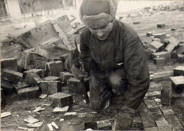 Мощение мостовой шашкой. Октябрь 1936г.