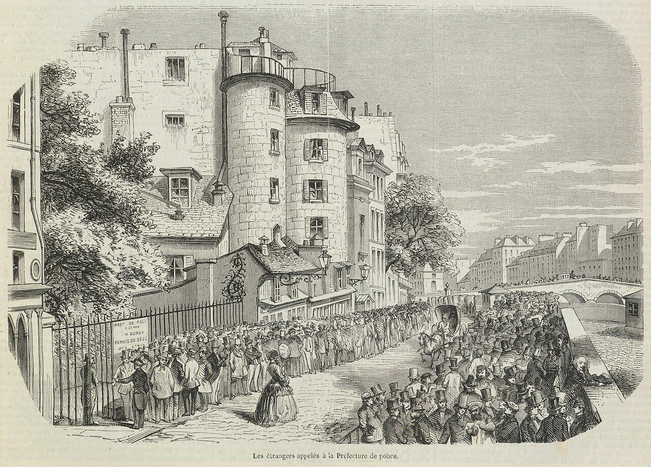 Иностранцев Парижа вызвали в Главное управление полиции. Публикация в L'Illustration, от 27 сентября 1851г.