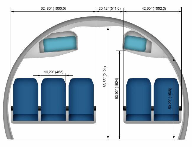 SSJ 100. Схема салона.