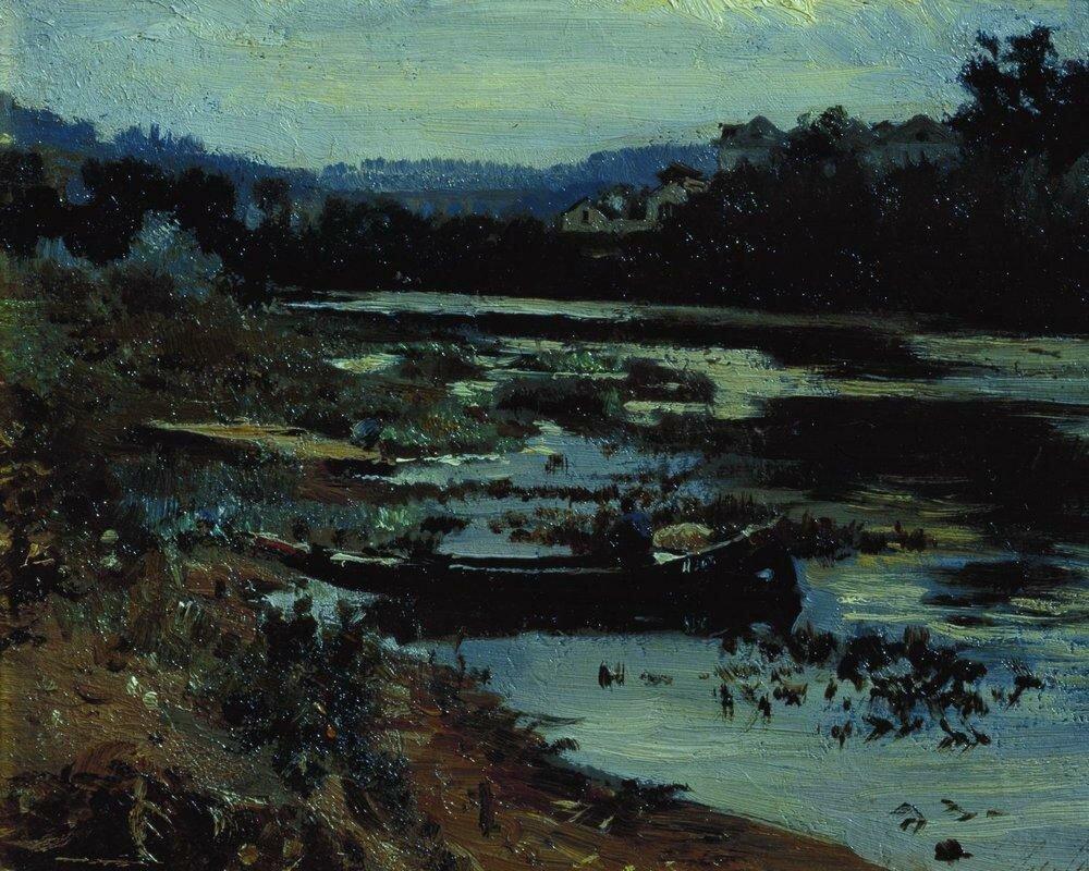 Пейзаж с лодкой. 1875.jpg