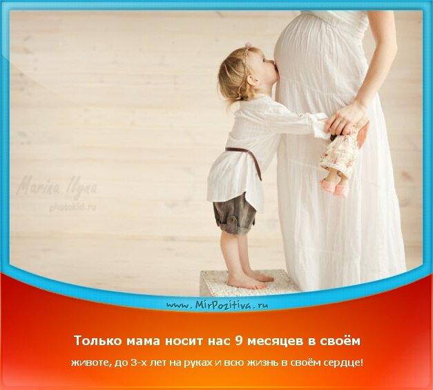 Позитивчики недели: Только мама носит нас 9 месяцев в своём животе, до 3-х лет на руках и всю жизнь в своём сердце!
