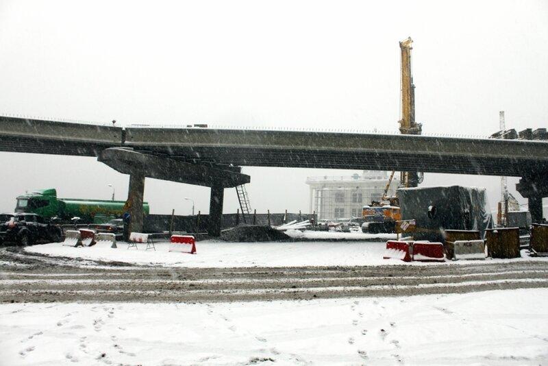 Участок новой эстакады возле Речного вокзала