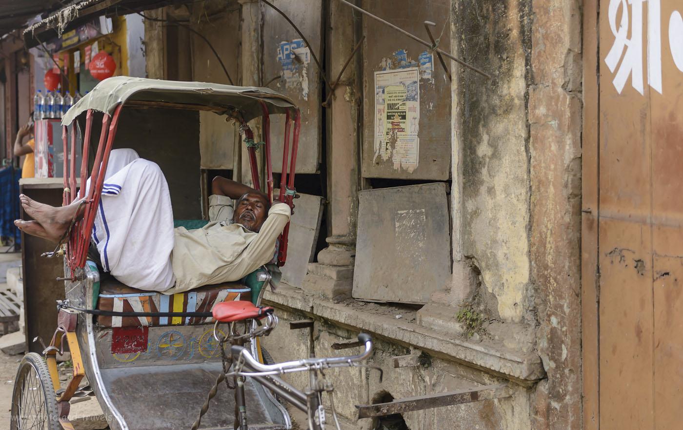 Фото 29. Грузовой велосипед для рикши – не только средство заработка, но и место жительства. Прогулка по Варанаси. 1/800, 2.8, 250, 56.