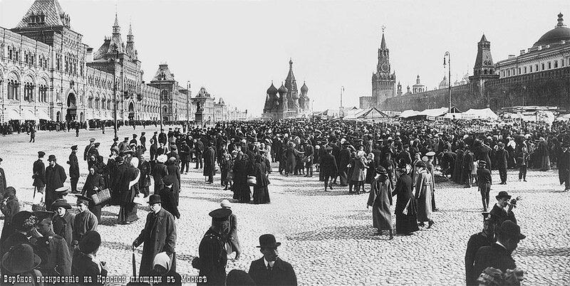 Вербный базар перед Пасхой на Красной площади. 12 апреля 1913 год