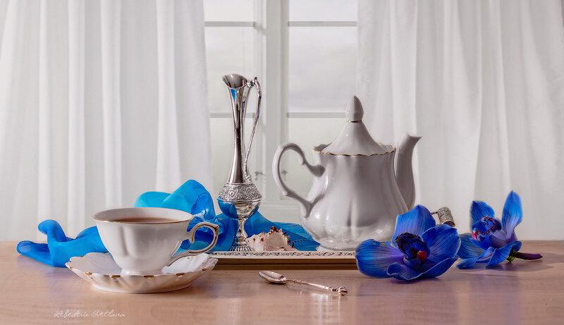 Синяя орхидея в натюрморте