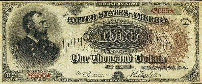 $1000 1890 Treasury Note