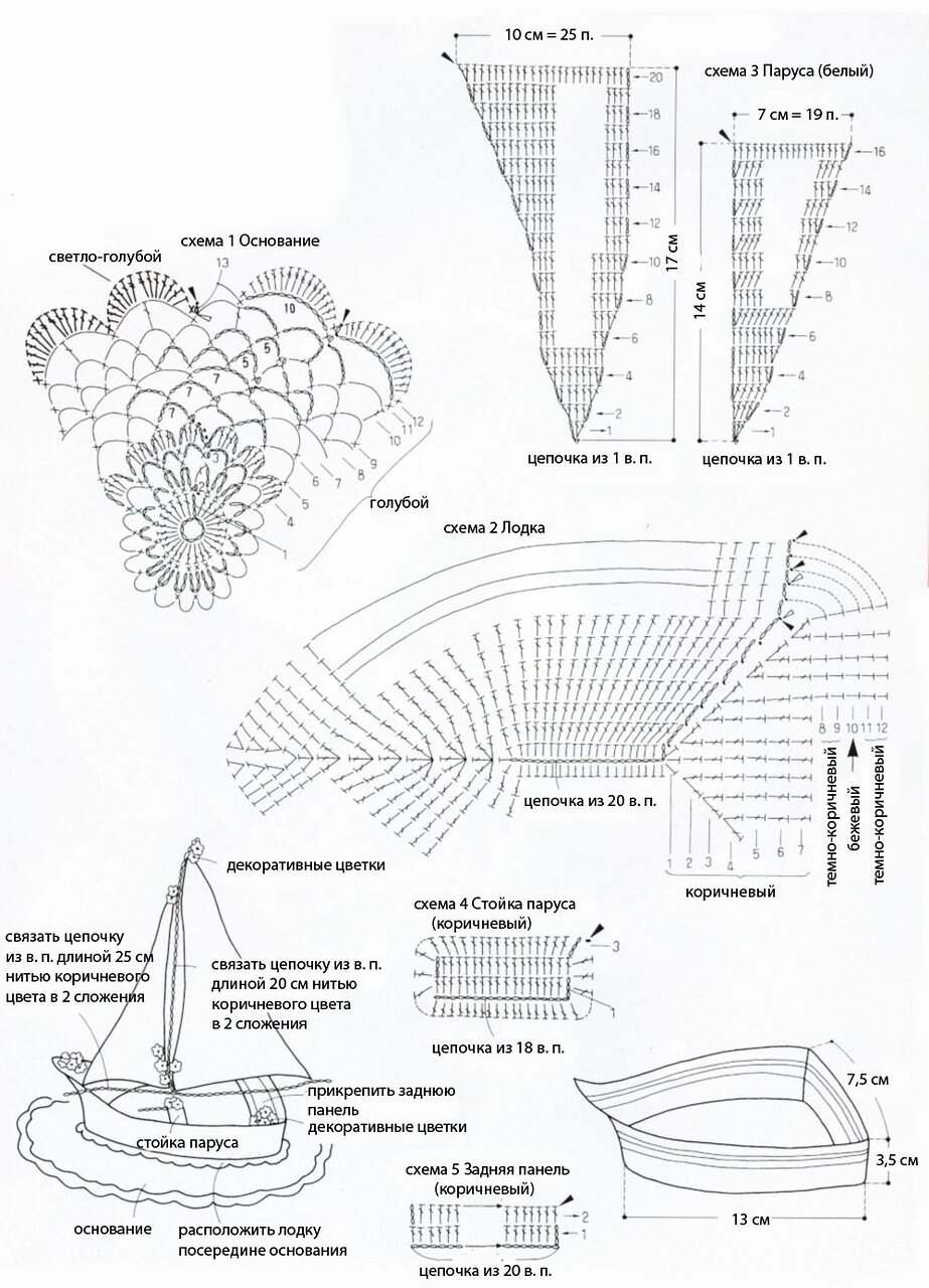 Кораблик крючком аппликации схема 15