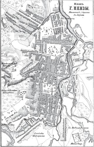 Генплан города Пензы на 1876 год