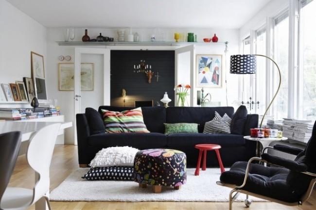 Небойтесь поставить стол или диван поперек или даже всередине комнаты. Создавайте уютное функциона