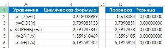 Рис. 129.2. Для вычисления нескольких рекурсивных уравнений применяются циклические ссылки