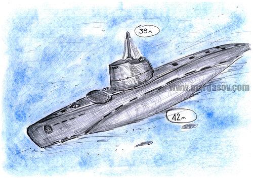 """Подводная лодка """"Малютка"""". Глубина 42м"""
