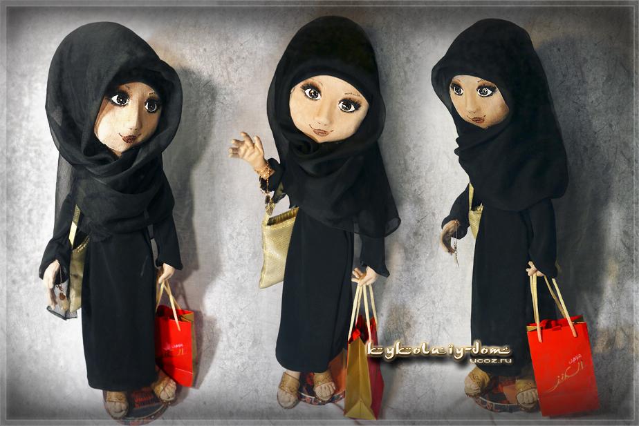 Хабиба - жительница Дубай. интерьерная текстильная шарнирная кукла продажа или пошив под заказ