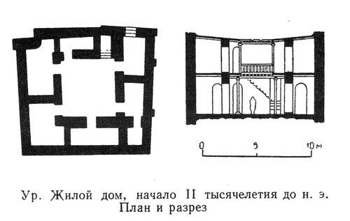 Месопотамский жилой дом, План и разрез