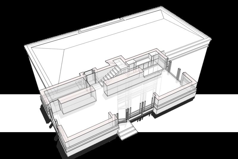 План первого этажа. Кирпичный особняк, здание в стиле электроподстанции советского метрополитена, 6х12м. Планировочная структура первого этажа с расстановкой технического оборудования, системы отопления, кухни, помещений гостиной, столовой, каминной, спальни гостей, уборной, шкафов для хранения домашней утвари, планировочная структура первого этажа организована без дополнительных перегородок. Особняк, 65 кв.м по фундаменту.