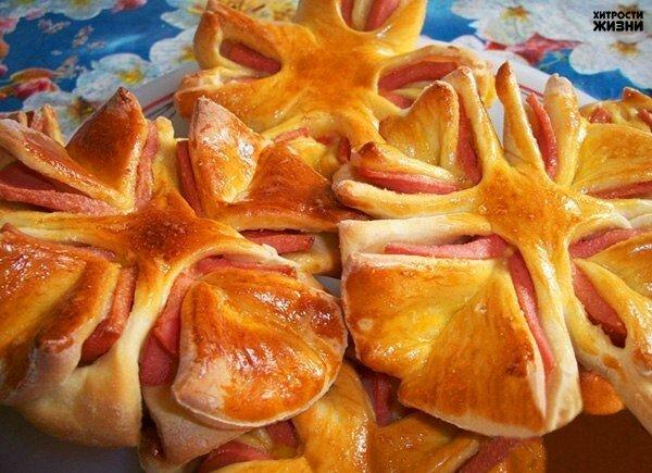 Колбасные цветочки к завтраку
