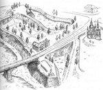 Современный вид городища крепости Яма - Ямбурга с сохранившимися земляными бастионами. Худ. В. Ухин