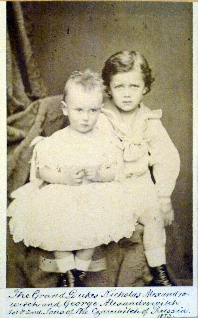 Будущий Николай II и его брат Георгий 1873 г.