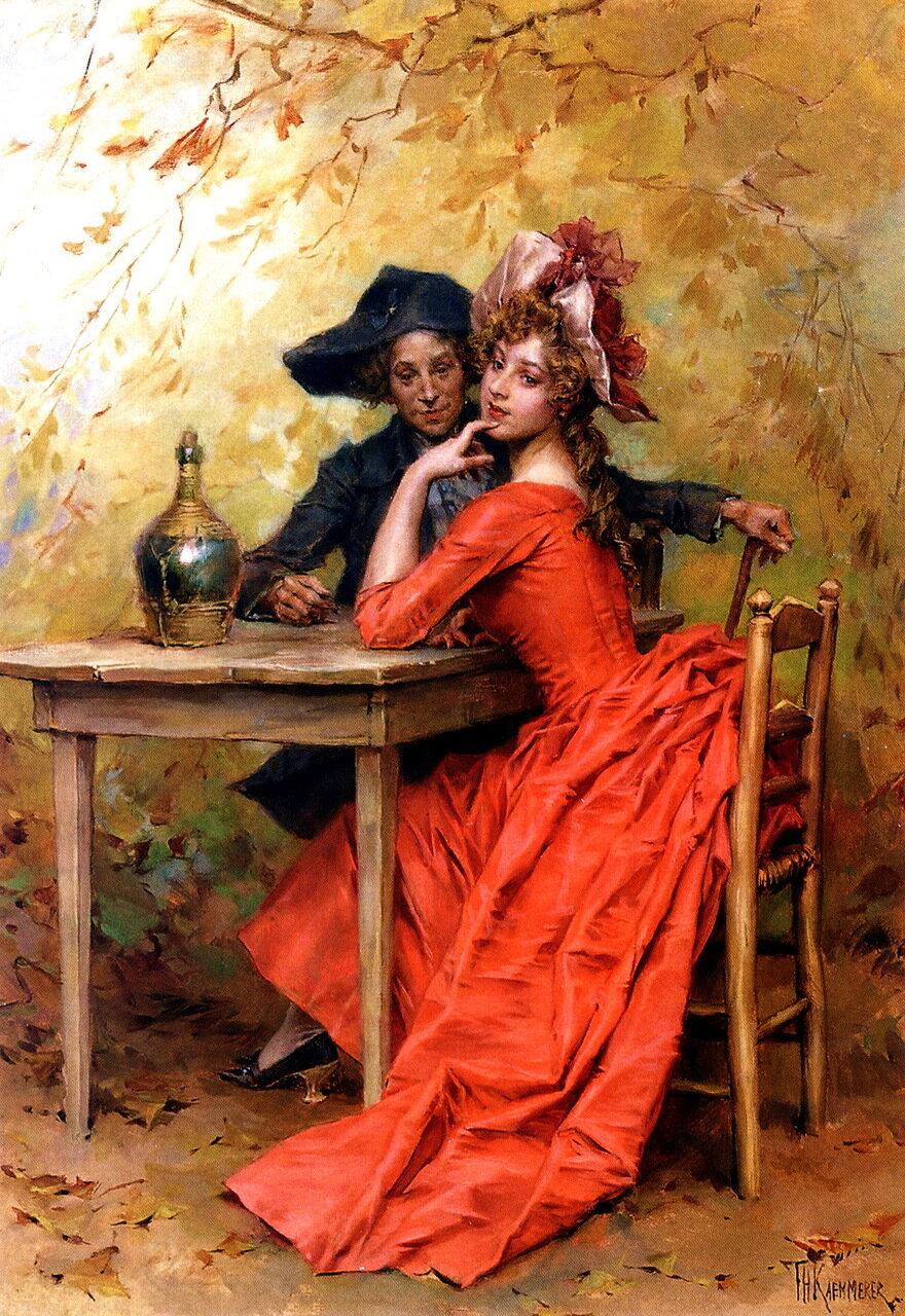 "Kaemmerer, Frederick Hendrik - Флирт (также известная как ""Леди в красном"") - A Flirtation (Also Known As The Lady In Red)"