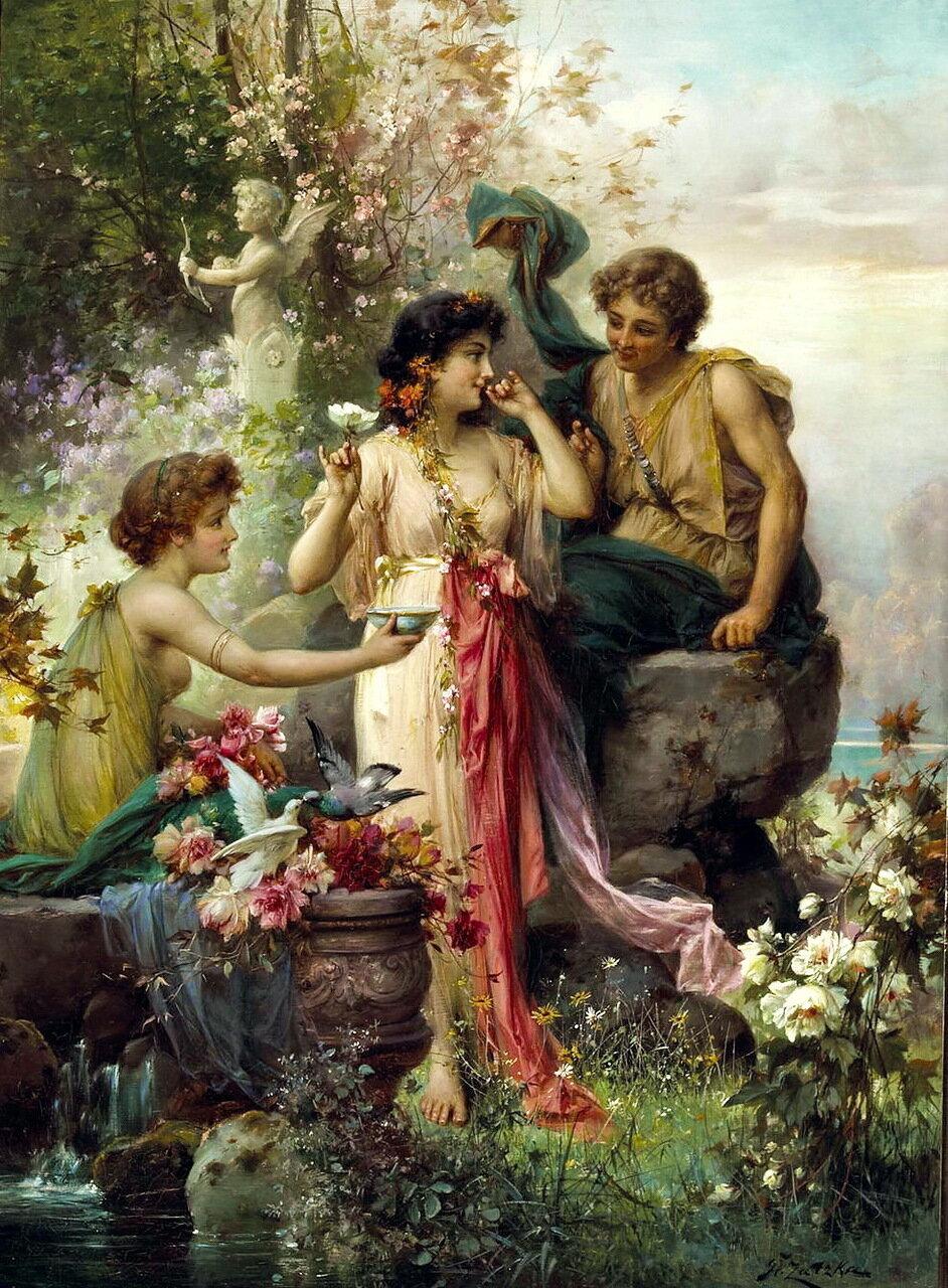 Hans Zatzka (Austrian, 1859-1949) - The love offering