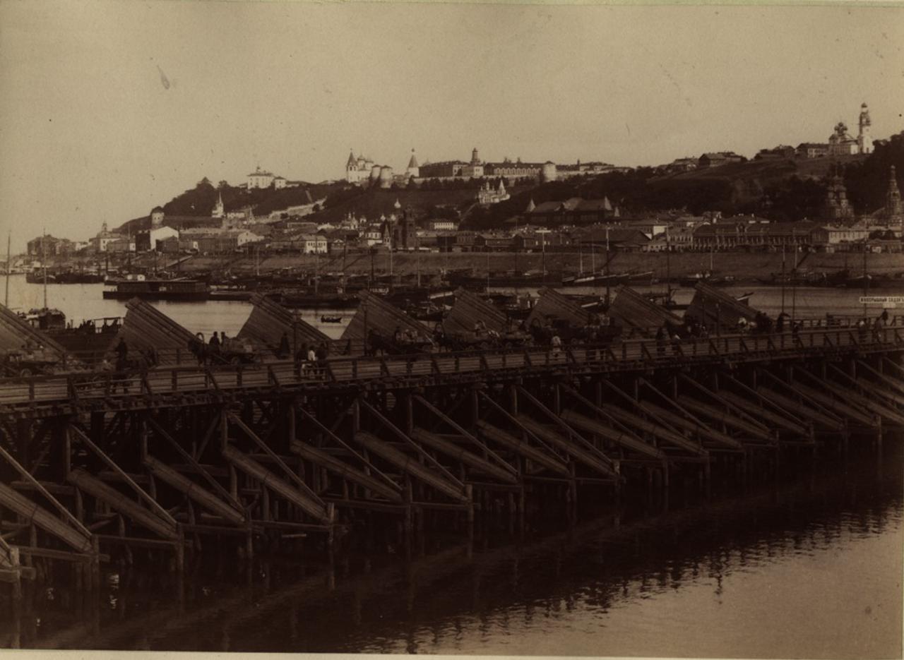 Часть плашкоутного моста. 1880-е
