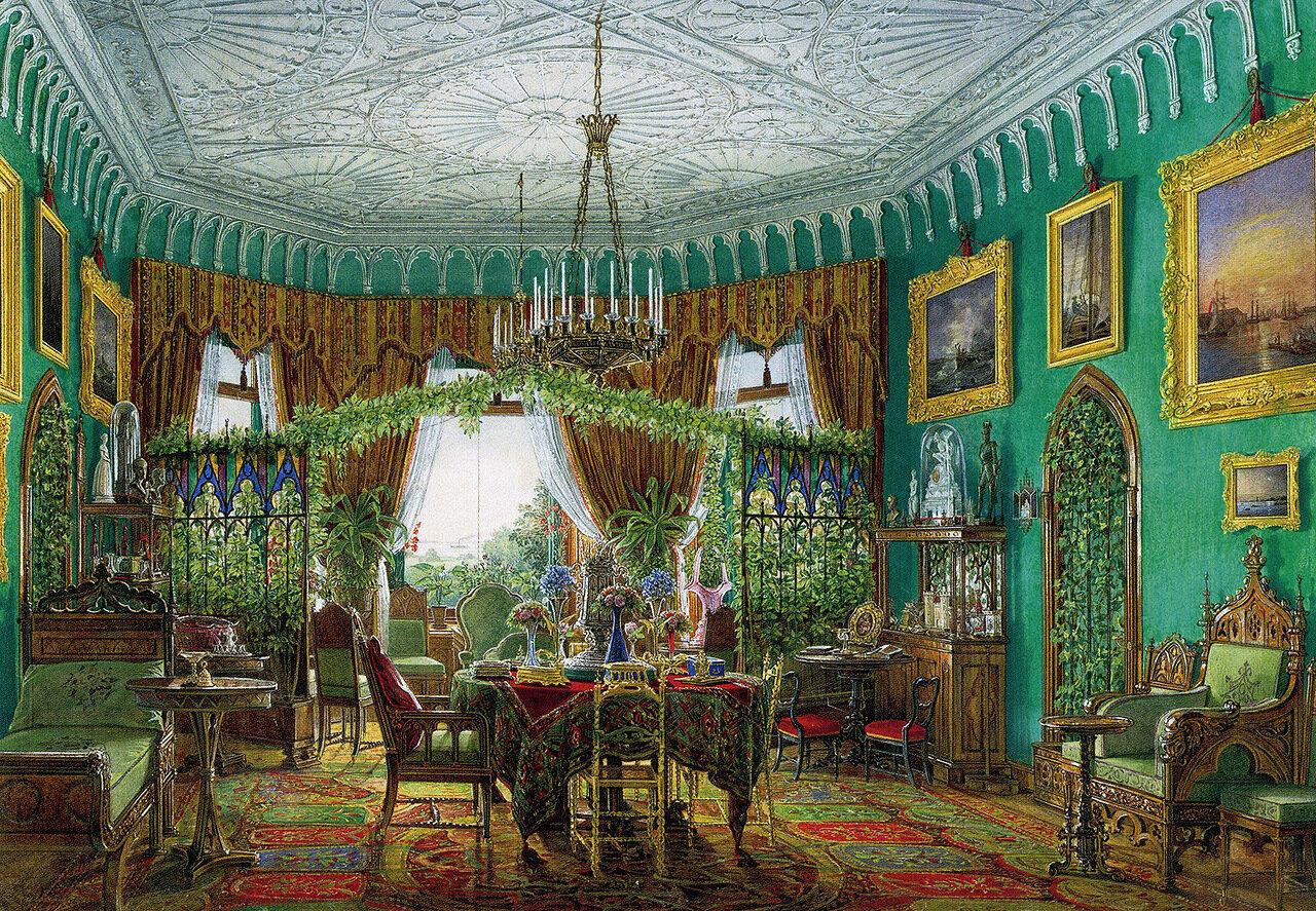 Интерьеры гостиной во дворце Котедже близ Петергофа, 1855