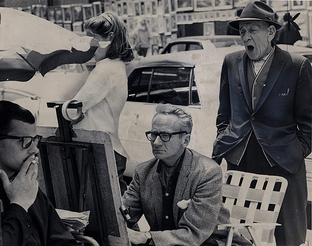 Artists and observers gather at the Greenwich Village Outdoor Art Show