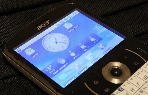 Виджет Palmary Weather на экране смартфона Acer beTouch E130