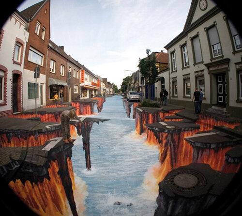 3D рисунки на асфальте фото