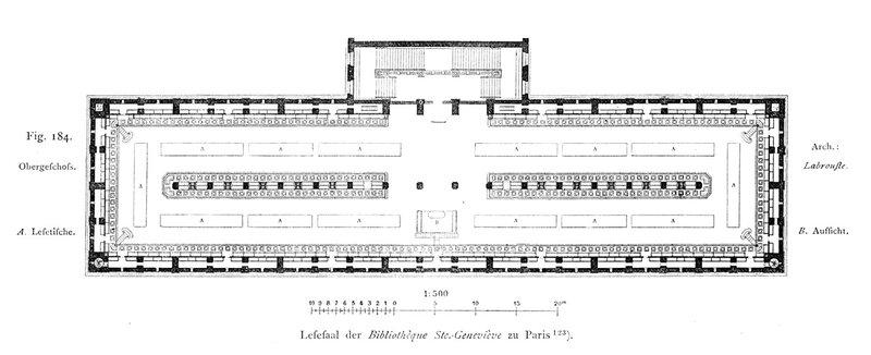 Библиотека святой Женевьевы в Париже, план основного этажа