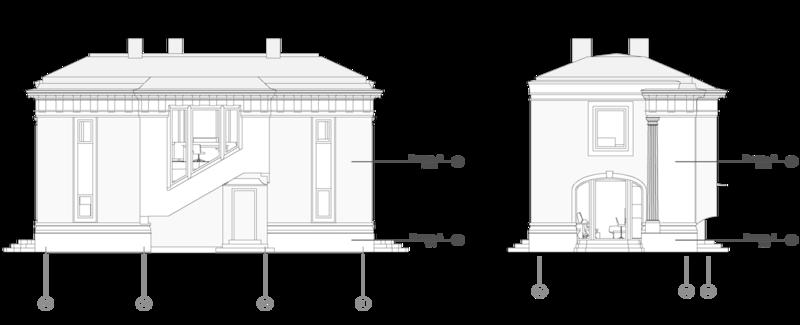 Кирпичный жилой двухэтажный дом с аркой в интерьере и балконом по фасаду