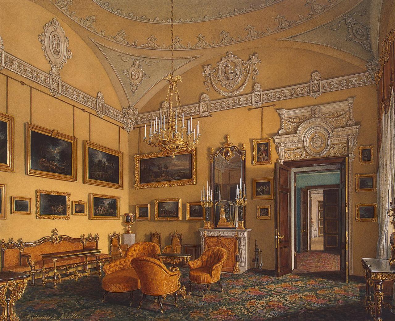 Интерьеры Зимнего дворца. В гостиной герцога М. Лейхтенбергского