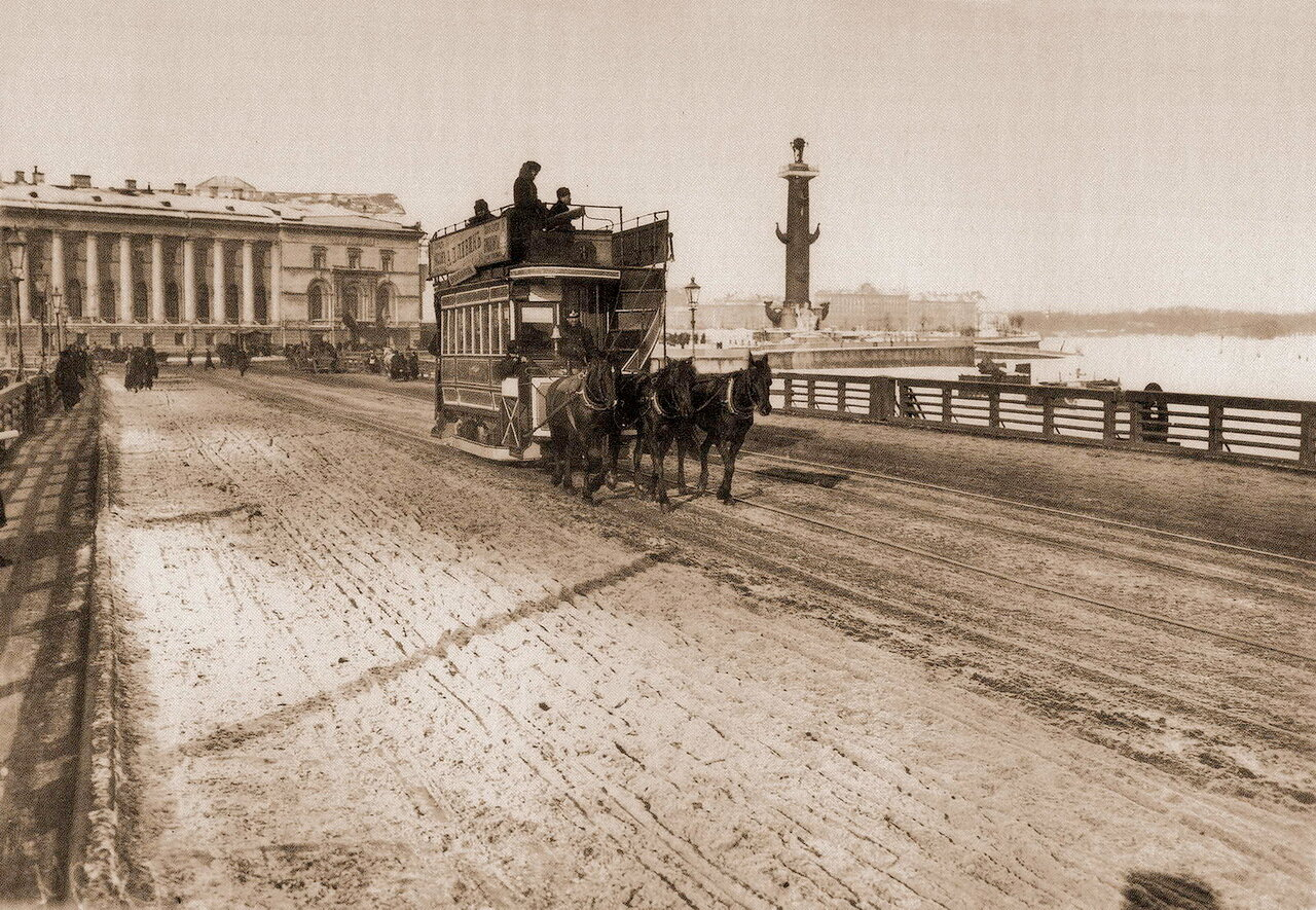 Конка на Дворцовом мосту. Фотоателье Буллы. 1905-06 г.