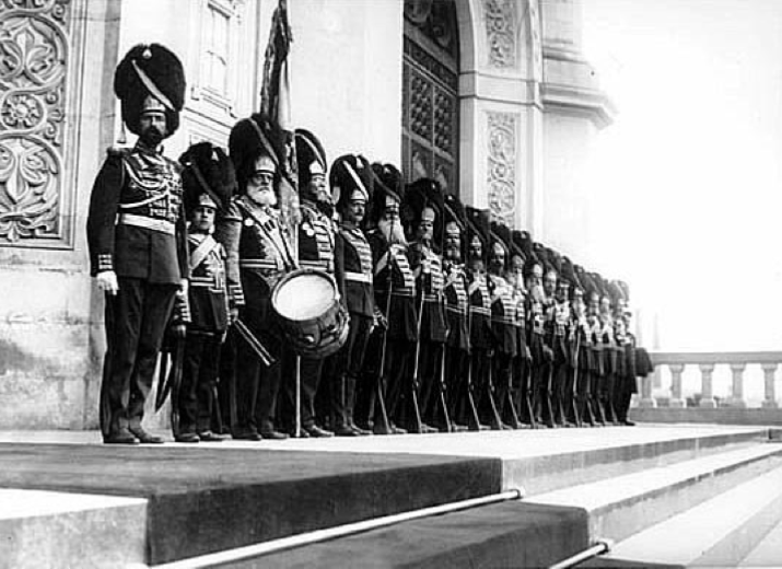 Detachment of grenadiers stand in front of the Cathedral of Christ the Savior awaiting the arrival of the royal family in honor of the centennial of the Patriotic War, 1912