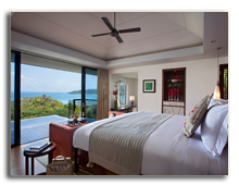 Сейшелы. О.Праслин. Raffles Praslin Seycheless. View_Pool_Villa_-_Bedroom